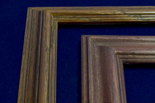 custom oak frames with mahogany or cordovan finish